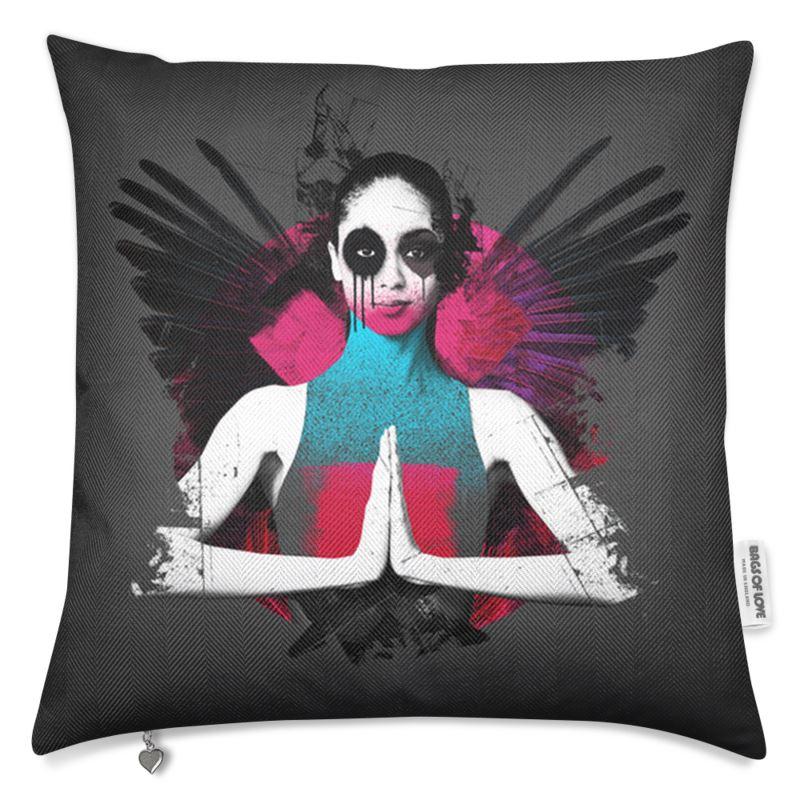 """Fallen"" Charcoal Luxury Cushion"