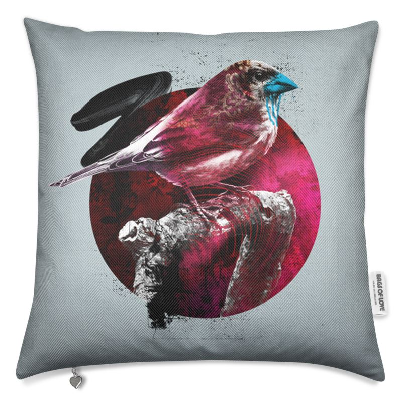Bird Luxury Cushion Light Grey