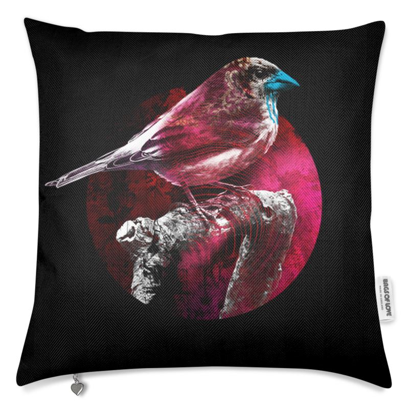 Bird Luxury Cushion Black