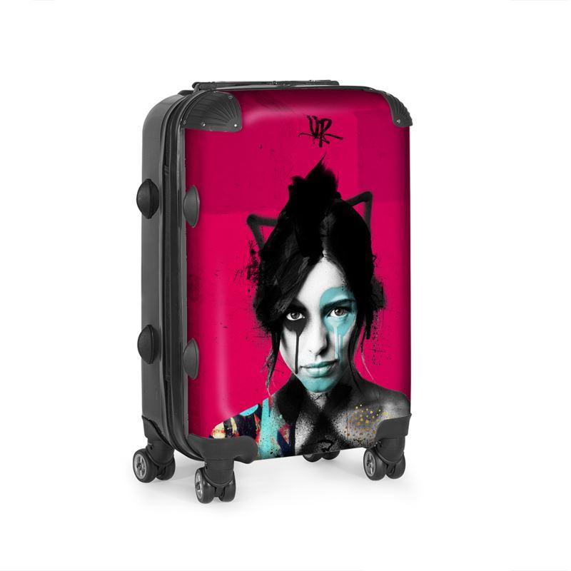 Urban Punkz designer suitcase in Pink side view
